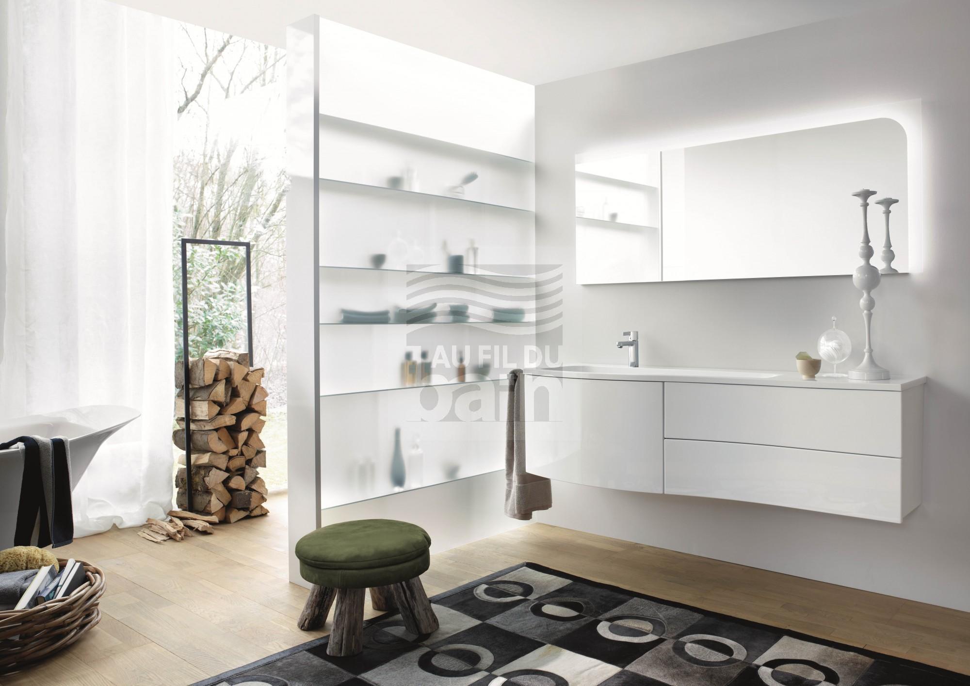 meubles de salle de bains suspendus simple vasque avec plan en beton