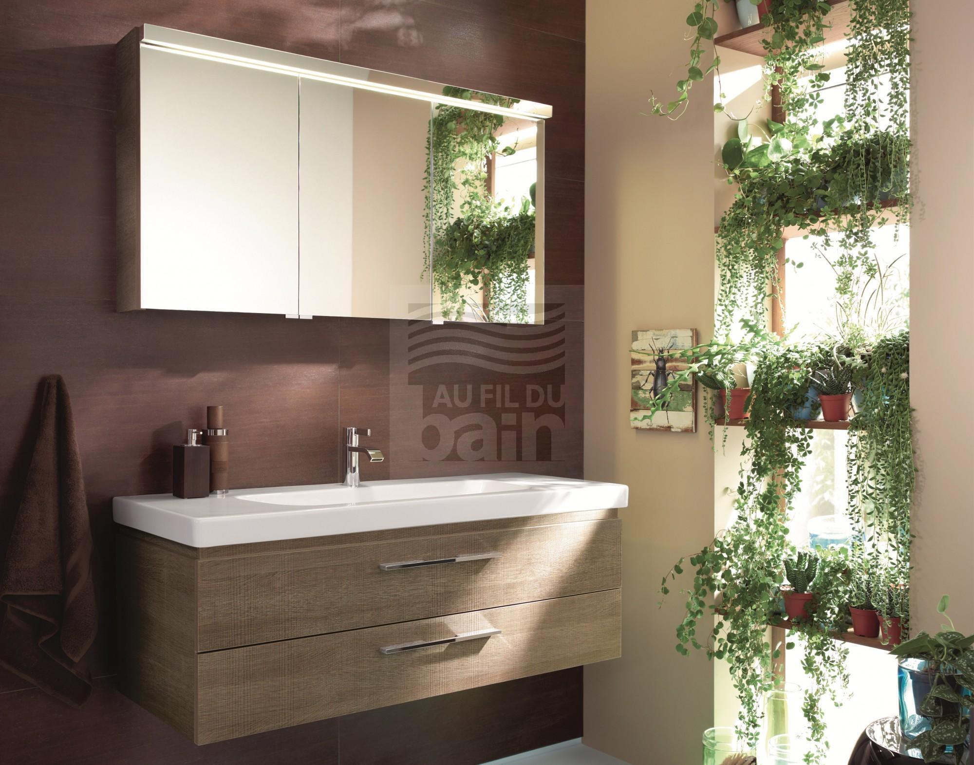 meuble de salle de bains suspendu simple vasque ceramique burgbad
