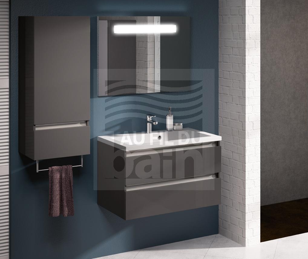 Meubles de salle de bains suspendus simple vasque avec plan en beton de synthese aquarine - Meuble salle de bain aquarine ...